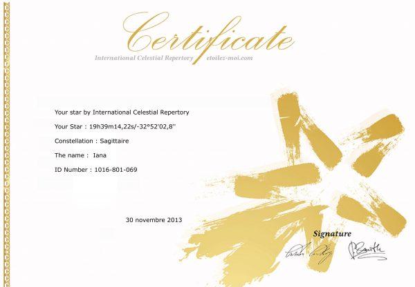 Certificat Étoilez-moi Iana